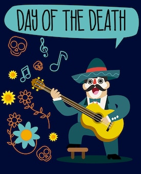 Day of the death vector mariachi