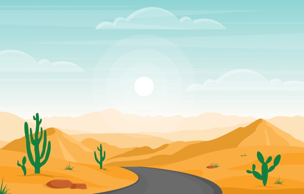 サボテン地平線の風景イラストと広大な砂漠の岩の丘山の日