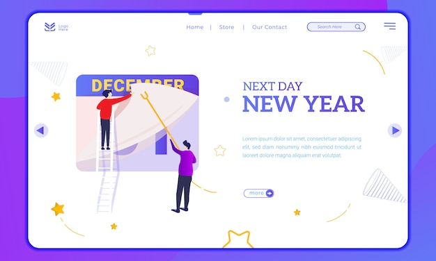 The next day is new year, illustration of changing the date on landing page
