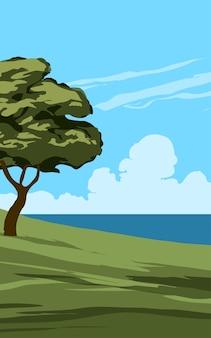 나무와 바다 전망 하루 풍경