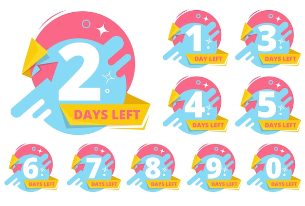 Day left badges. numbers shopping sales time business stickers vector collection. countdown announcement days left badge, timer to sale illustration