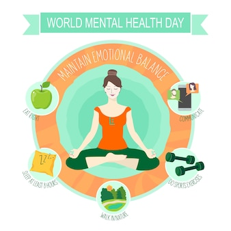 The day of mental health with infographics