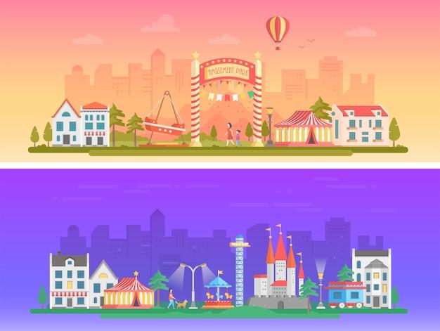 День, ночь парк развлечений - набор современных плоских векторных иллюстраций на городском фоне. два варианта аттракционов. прекрасный городской пейзаж с аттракционами, шапито, домами, людьми