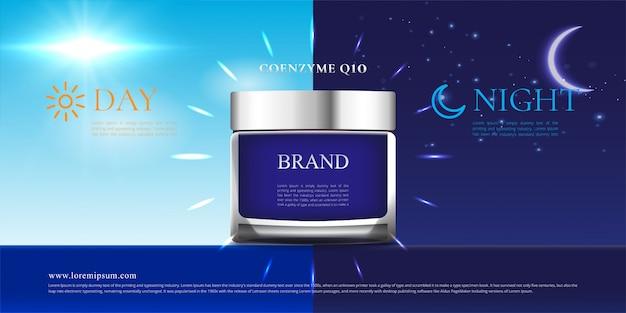 Day and night background cream skin care cosmetics