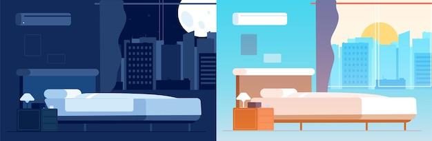낮 밤 침실 인테리어입니다. 다른 시간에 방 위치입니다. 침대 벡터 일러스트와 함께 빈 집입니다. 침실 인테리어, 집의 밤과 낮