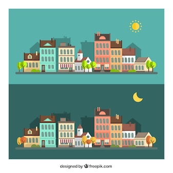 Day and night cityscape