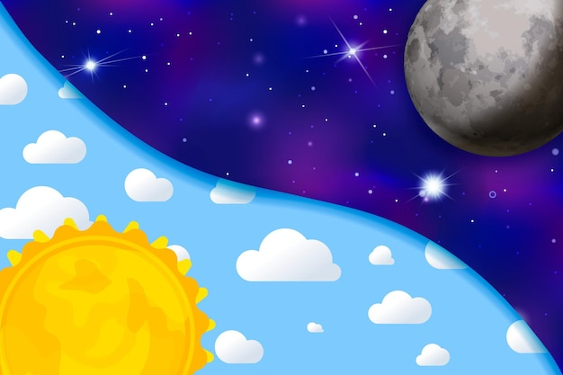 Day and night, colourful childish illustration with sun, sky, clouds, moon and stars