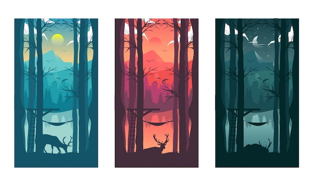 Day and night cycle landscape illustration
