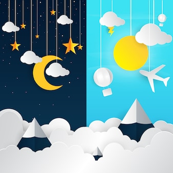 Day and night landscape with paper art style.