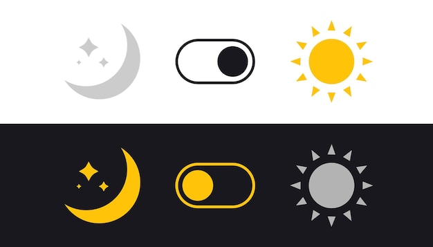 Day and night mode switch. sun and moon. light filter toggle button. sleeping mode turn on, off. on off switch. light and dark buttons. simple dark mode switch icon.