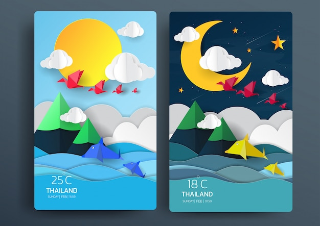 Day and night nature landscape with paper art style.