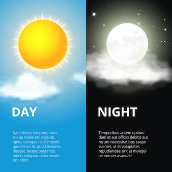 Day and night, sun and moon. sky and weather, cloud and life, period and cycle Premium Vector