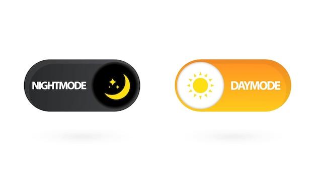 낮 밤 스위치. 간단한 다크 모드 스위치 아이콘입니다. 가제트 인터페이스의 개념은 낮과 밤 모드 및 ui 기호로 전환합니다. 낮과 밤 모드. 벡터 켜기 끄기 스위치입니다. 라이트 및 다크 버튼.