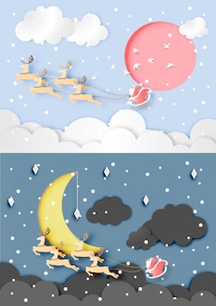 Day and night time in christmas day with santa claus and reindeer on the sky background