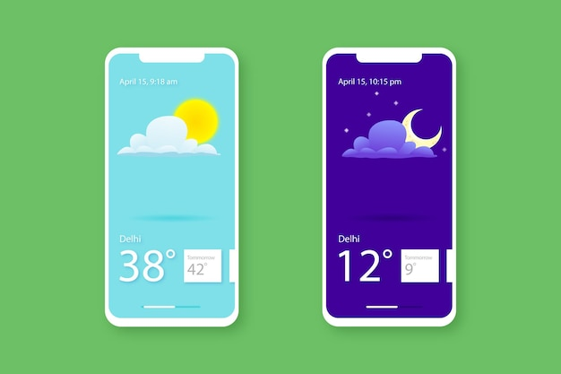 Day night weather forcast mobile screen weather information