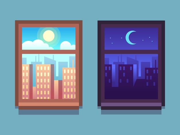 Day and night window. cartoon skyscrapers at night with moon and stars, at day with sun inside home windows.