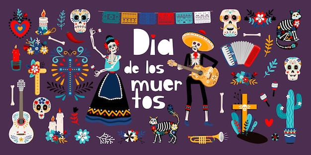 死者の日、ディア・デ・ロス・ムエルトス、フラットなイラストセット。砂糖メキシコの頭蓋骨、メキシコの伝統的な服のスケルトン。猫、サボテン、キャンドルが分離されました。
