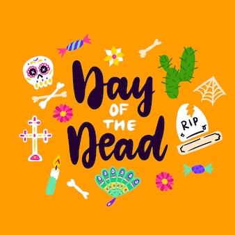 День мертвых рукописных карт векторные иллюстрации дизайна поздравительных открыток с буквами