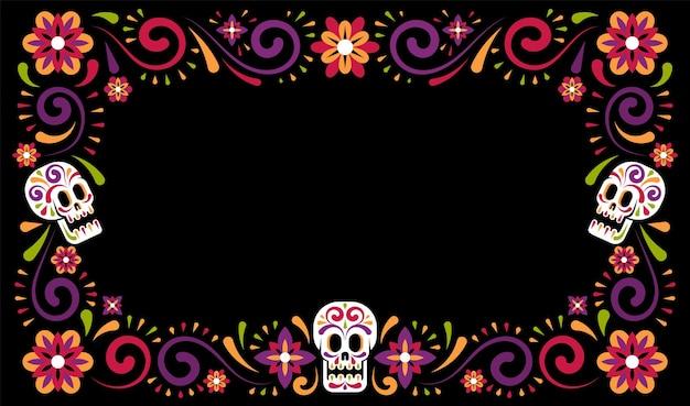 설탕 두개골과 죽은 멕시코 카니발 축하 프레임 디자인의 날. dia de muertos 휴일 꽃 테두리입니다. 벡터 일러스트 레이 션.