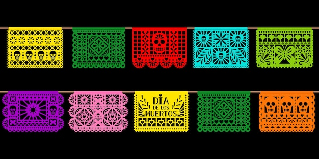 День украшения мертвой бумаги. мексиканский праздник диа-де-лос-муэтрос вырезал из бумаги искусство, изолированные на черном фоне. векторная иллюстрация гирлянды