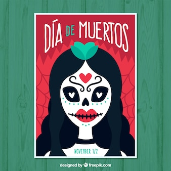 Day of death poster with dead woman