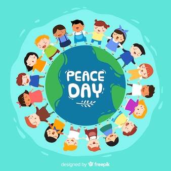 День создания мира с рисованными детьми
