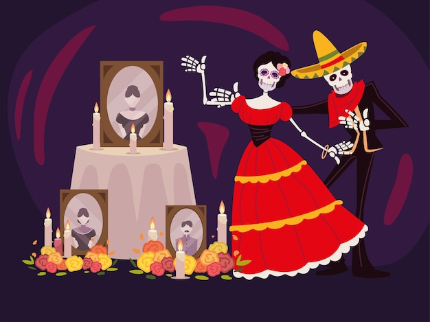 死者の日、写真キャンドルと花のカトリーナスケルトン祭壇、メキシコのお祝い