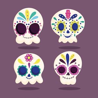死者の日、カトリーナの頭蓋骨の花の花飾り伝統的なメキシコのお祝い