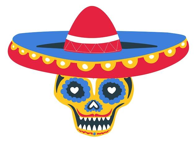 メキシコの休日の死者の日、装飾品、線、ハートで飾られた孤立した頭蓋骨。ソンブレロの帽子をかぶったカラベラ、ハロウィーンのメキシコの伝統。フラットスタイルのベクトル