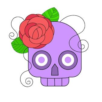 꽃 장식으로 죽은 다채로운 해골의 날