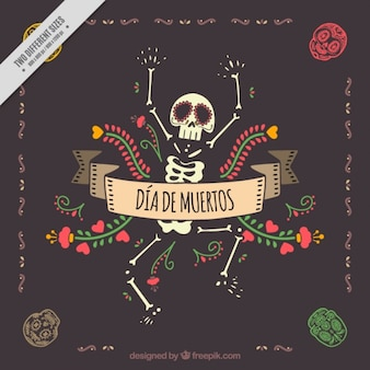 Day of the dead decorative background with nice skeleton