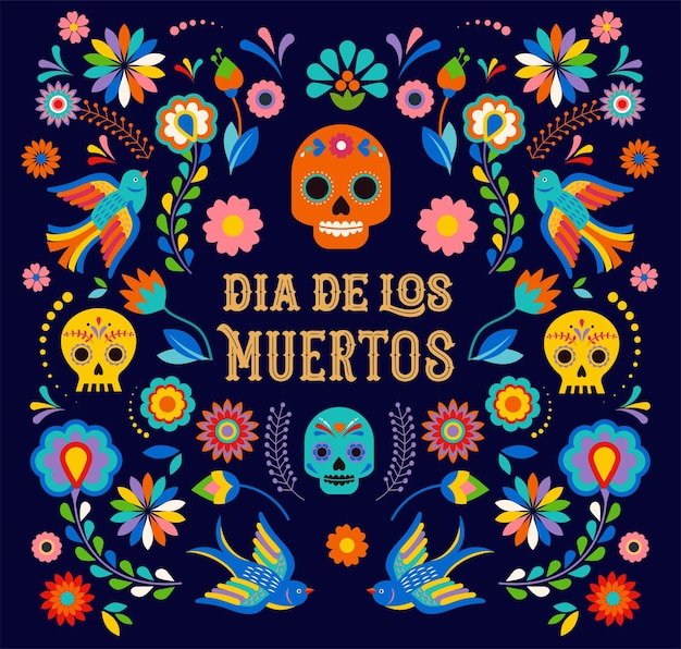 カラフルなメキシコの花のフィエスタホリデーポスターパーティーで死んだディアデロスモエルトスバナーの日