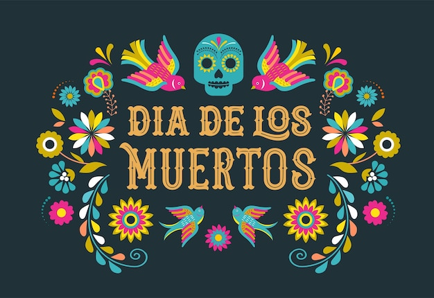 死者の日diade losmoertosバナーとカラフルなメキシコの花フィエスタホリデーポスターパーティー