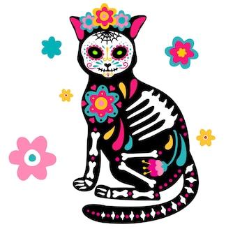 День мертвых: череп и скелет животного dia de los muertos, украшенные цветными мексиканскими элементами