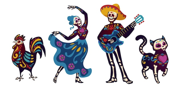 죽은 자의 날, 디아 데 로스 뮤 에르 토스 캐릭터가 카트리나 또는 마리아치 뮤지션을 춤추고 있습니다.