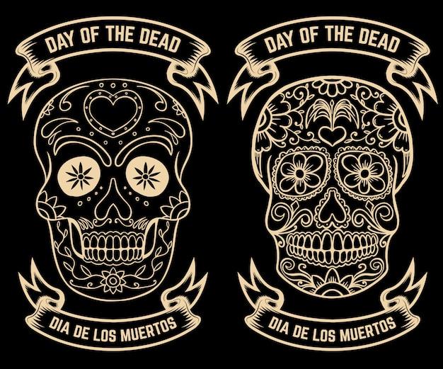 死霊のえじき。 dia de los muertos。シュガースカルのセットです。ポスター、グリーティングカードの要素。図