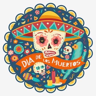 죽음의 날, 디아 데 로스 무에르토스, 꽃이 든 해골, 양초. 벡터 일러스트 레이 션.