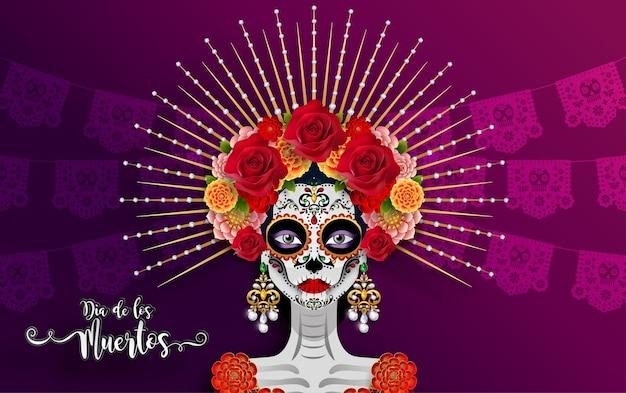 死者の日、dia de los muertos、紙の黒い色の背景にマリーゴールドの花の花輪と砂糖の頭蓋骨。