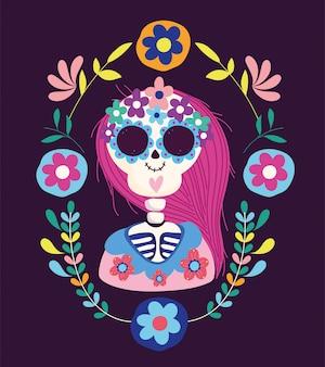 День мертвых, женский скелет, цветы фольклор, традиционный мексиканский праздник