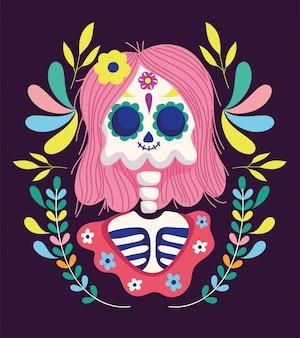 День мертвых, женский скелет с волосами, цветы обрамляют традиционный мексиканский праздник