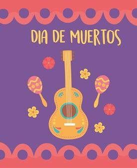 День мертвых, мексиканский праздник гитары маракасы цветы плакат.