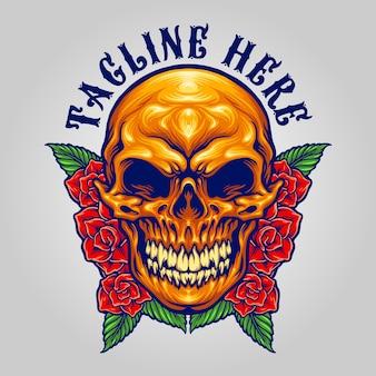 死者の日メキシカンシュガースカルあなたの作品のロゴ、マスコット商品のtシャツ、ステッカーとラベルのデザイン、ポスター、企業やブランドを宣伝するグリーティングカードのベクターイラスト。