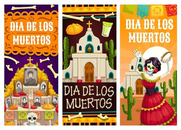 死者の日またはメキシコのフィエスタの休日のディアデロスムエルトスのバナー。カトリーナのスケルトン、砂糖の頭蓋骨、祭壇のパンとテキーラ、教会、サボテンとキャンドル、マリーゴールドとパペルピカードの旗