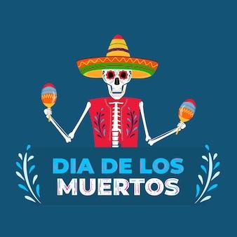 죽은 파티의 날. dea de los muertos 배너입니다. 솜브레로로 칠해진 해골이 마라카스를 연주하고 있습니다.