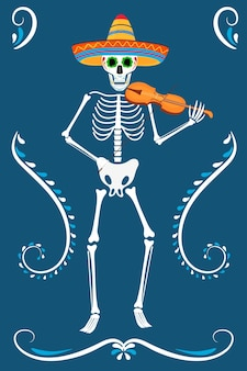 죽은 파티의 날. dea de los muertos 카드. 칠해진 해골이 바이올린을 연주합니다.