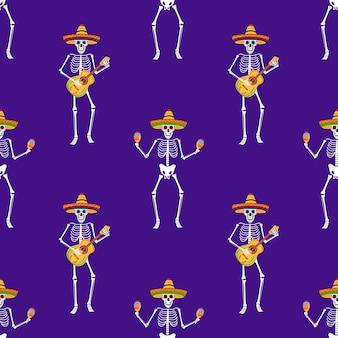День мертвой вечеринки. dea de los muertos бесшовные модели. раскрашенные скелеты играют на музыкальных инструментах и танцуют.