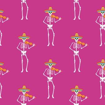 死者の日。 dea de losmuertosシームレスパターン。塗られた骸骨は楽器を演奏し、踊ります。