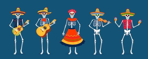 죽은 파티의 날. dia de los muertos 카드. 색칠한 해골이 악기를 연주하고 춤을 춥니다.