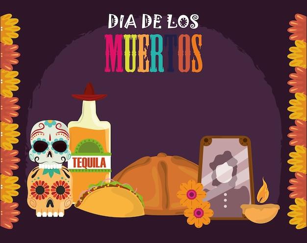 죽음의 날, 사진 프레임 데킬라 병 빵 타코 촛불, 멕시코 축하 벡터 일러스트 레이션