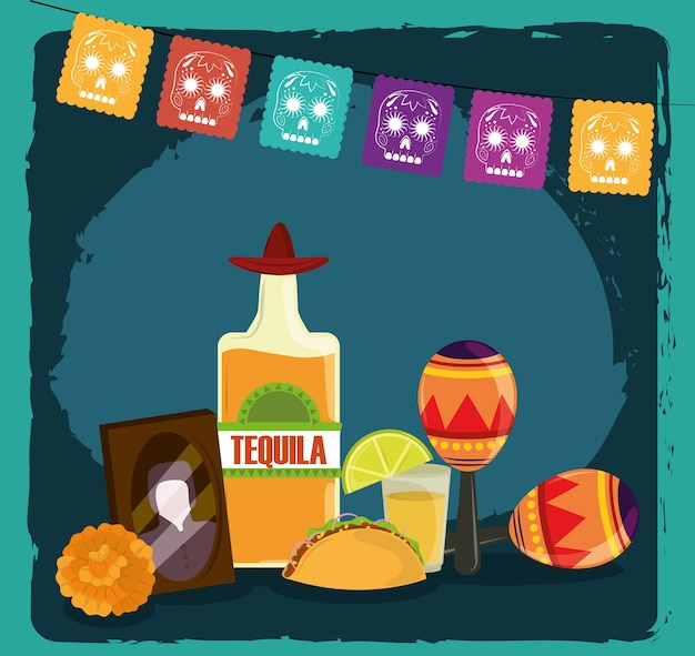 死者の日、写真フレームテキーラマラカスタコスと花、メキシコのお祝い